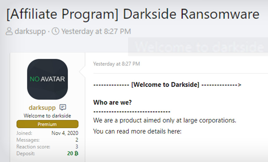 Darkside Ransomware Gang Launches Affiliate Program