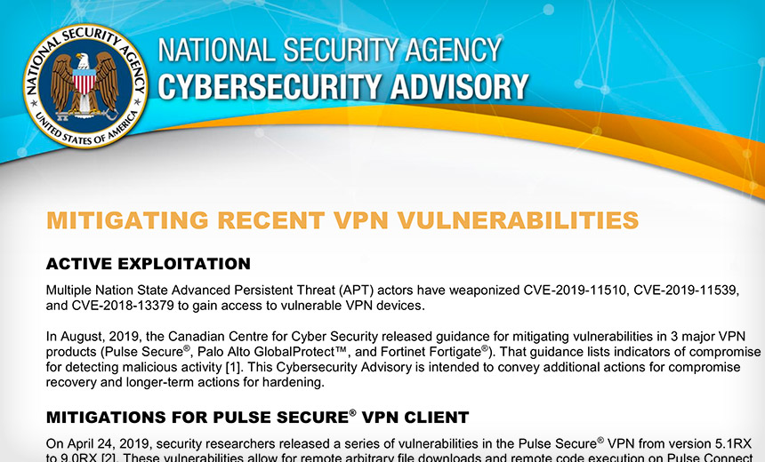 NSA Is Latest Intelligence Agency to Sound VPN Patch Alarm
