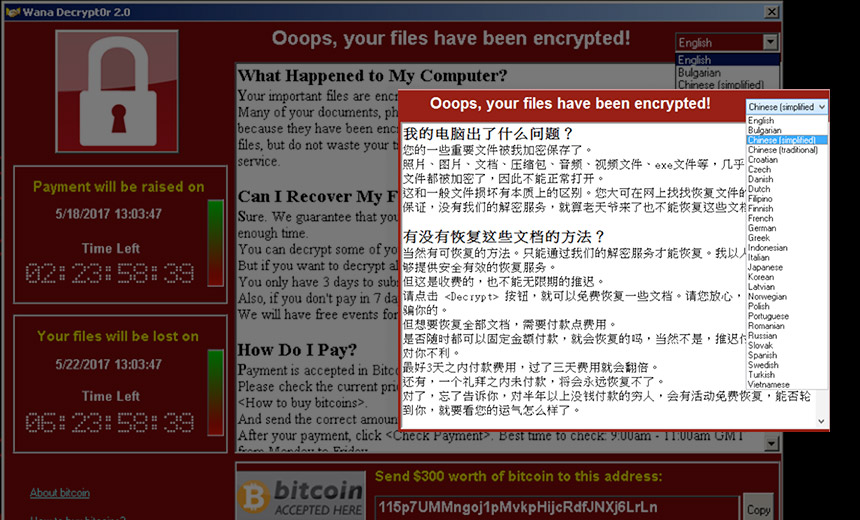 WannaCry's Ransom Note: Great Chinese, Not-So-Hot Korean